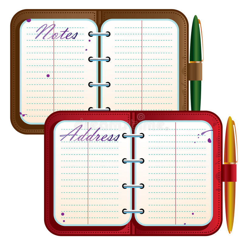 Address book. And note book with green and gold pens stock illustration