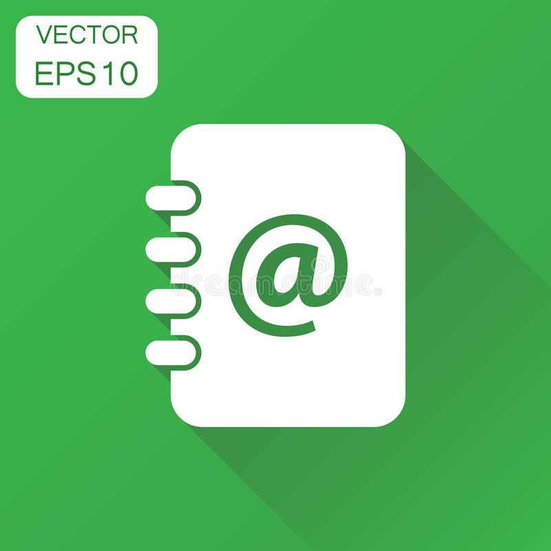 Address book icon. Business concept contact note pictogram. Vector illustration on green background with long shadow. vector illustration