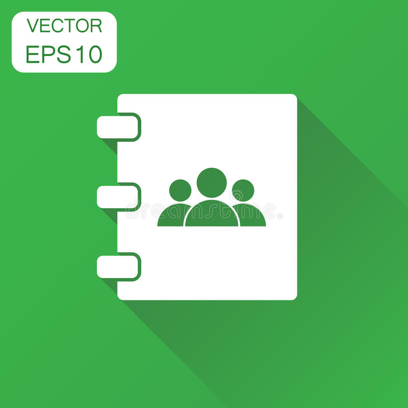 Address book icon. Business concept contact note pictogram. Vector illustration on green background with long shadow. stock illustration