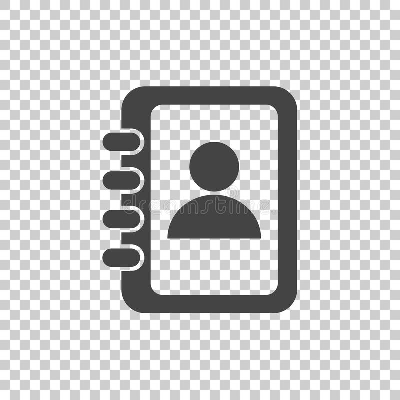Address book icon. Contact note flat vector illustration on isolated background. royalty free illustration