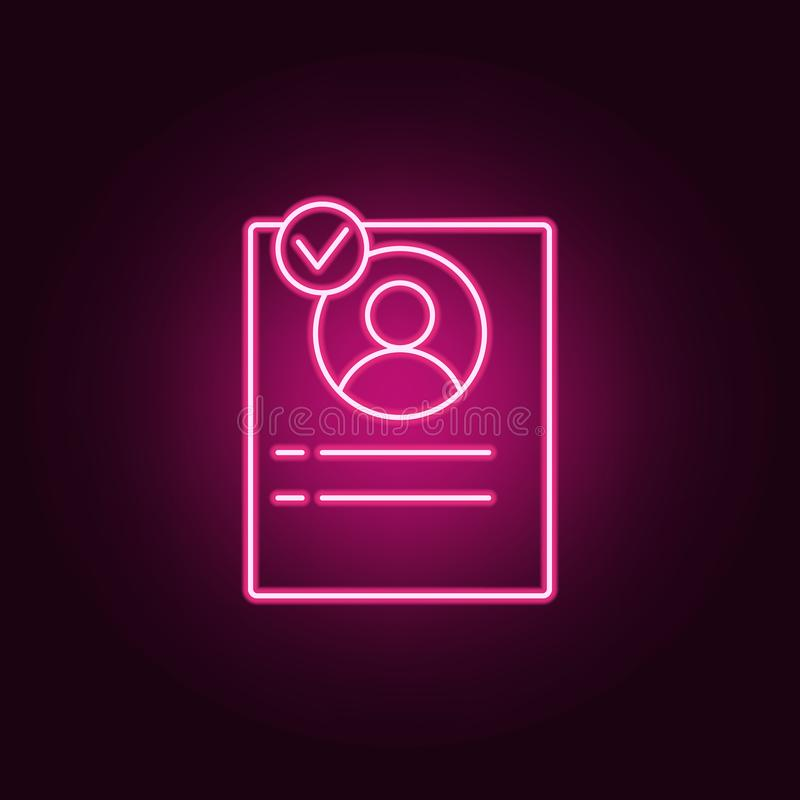 The address book icon. Elements of interview in neon style icons. Simple icon for websites, web design, mobile app, info graphics. On dark gradient background vector illustration