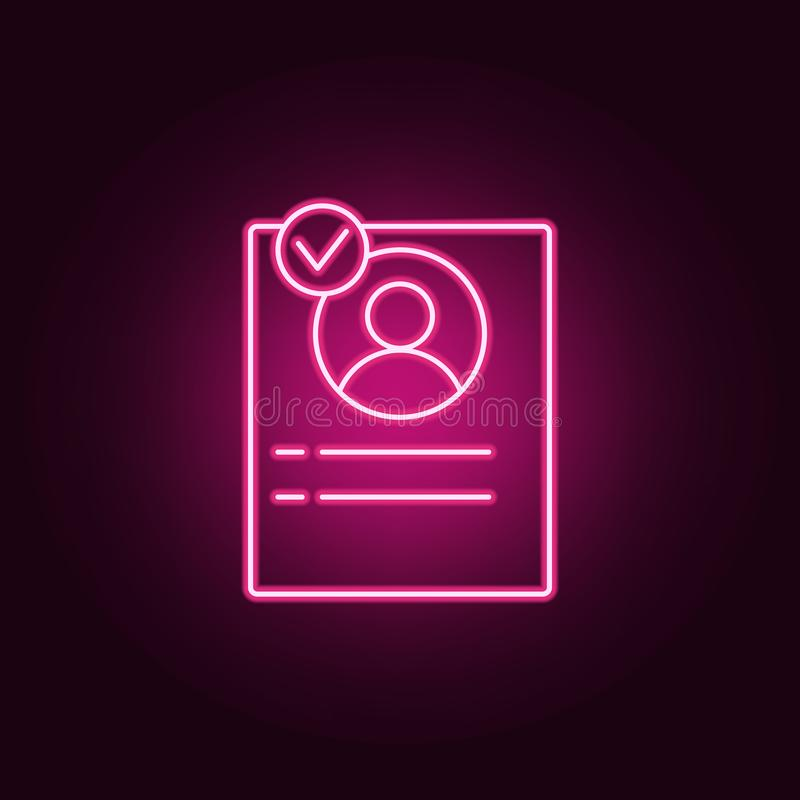 The address book icon. Elements of interview in neon style icons. Simple icon for websites, web design, mobile app, info graphics. On dark gradient background stock illustration