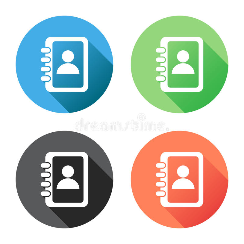 Address book icon with long shadow. Contact note flat vector illustration on blue, green, black and orange background vector illustration