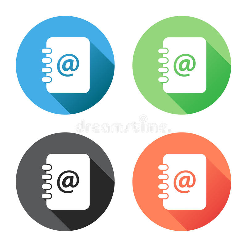 Address book icon with long shadow. Email note flat vector illus. Tration on blue, green, black and orange background vector illustration