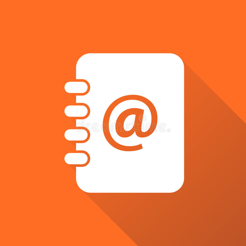 Address book icon with long shadow. Email note flat vector illus. Tration on orange background vector illustration