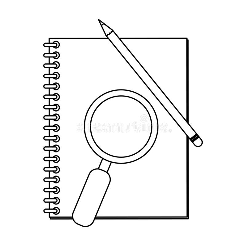 Address book and magnifying glass with pencil black and white. Address book and magnifying glass with pencil vector illustration graphic design vector illustration