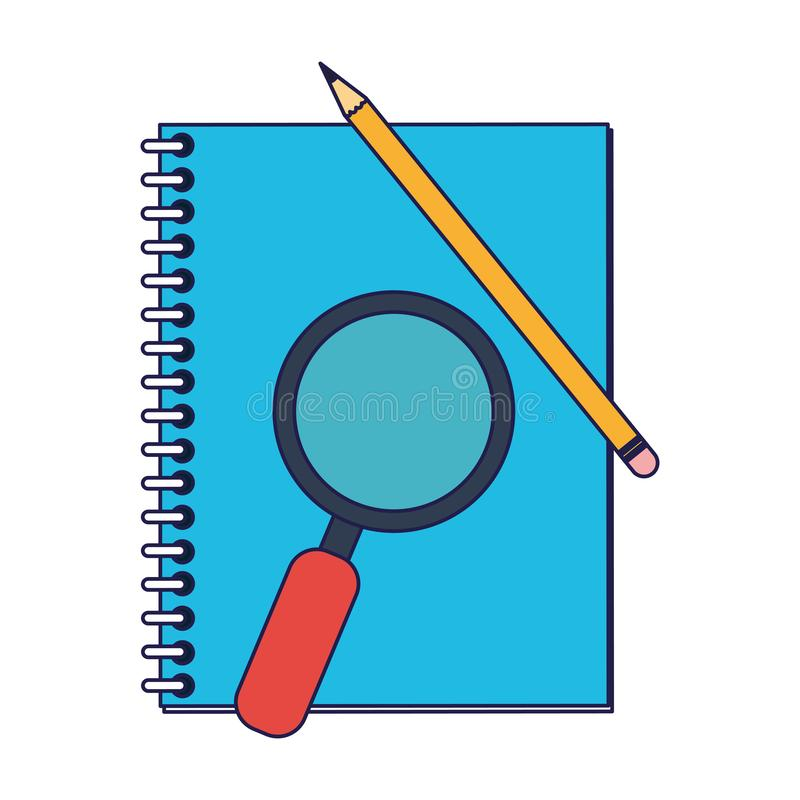 Address book and magnifying glass with pencil blue lines. Address book and magnifying glass with pencil vector illustration graphic design royalty free illustration