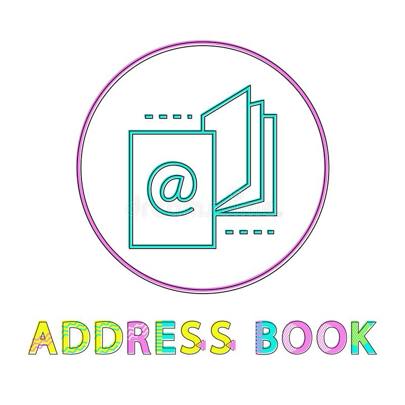 Address Book Round Linear Icon Template for App stock illustration