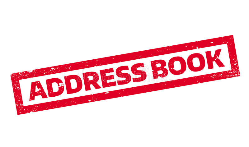 Address Book rubber stamp. Grunge design with dust scratches. Effects can be easily removed for a clean, crisp look. Color is easily changed royalty free illustration