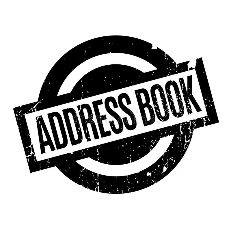 Address Book rubber stamp. Grunge design with dust scratches. Effects can be easily removed for a clean, crisp look. Color is easily changed stock illustration