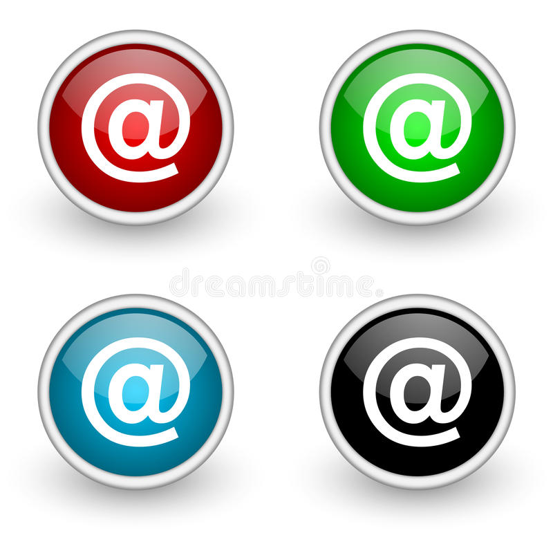 Address colored button set. Isolated over white royalty free illustration