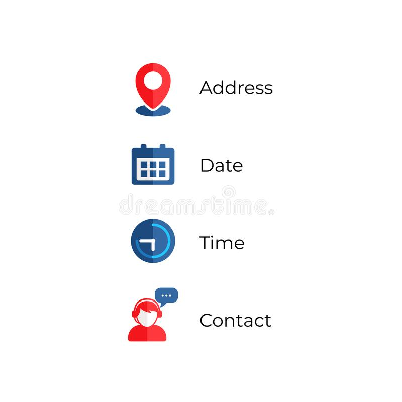 Address, date, time, contact icons vector illustration stock illustration