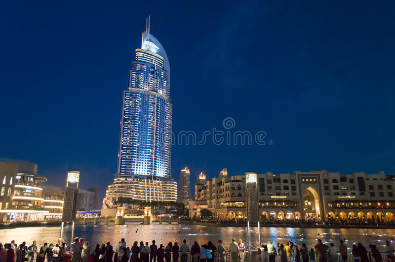 The Address Hotel, Dubai at night stock image