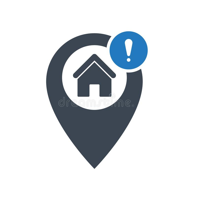 Address icon with exclamation mark. Address icon and alert, error, alarm, danger symbol. Vector icon royalty free illustration