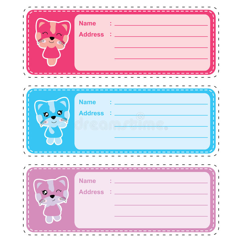 Address label cartoon with cute colorful cat girl suitable for kid address label design. Address tag and sticker set royalty free illustration