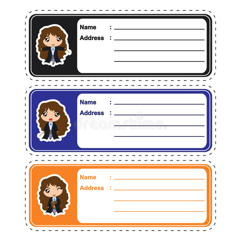 Address label cartoon with cute witch girls on colorful background suitable for kid address label design. Address tag and sticker set vector illustration