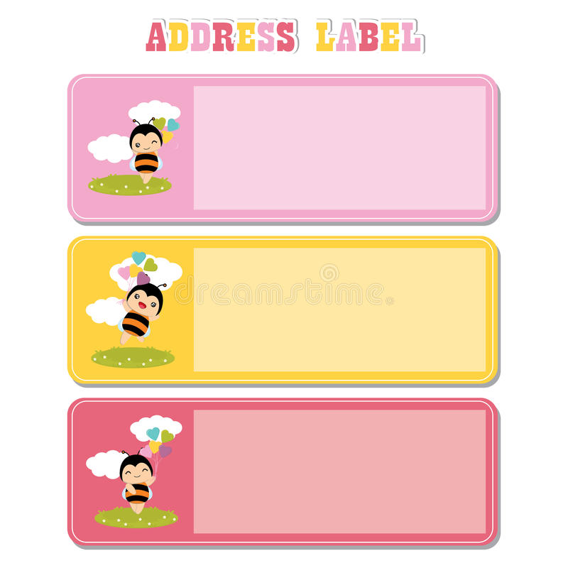 Address Label with cute bee on the grass suitable for kid address label stock illustration