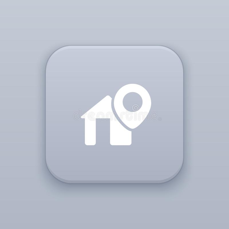 Address, location button, best vector. On a gray background , EPS 10 stock illustration