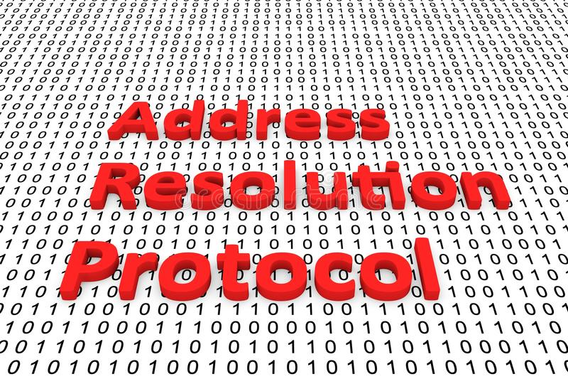 Address resolution Protocol. Is presented in the form of binary code 3d illustration royalty free illustration