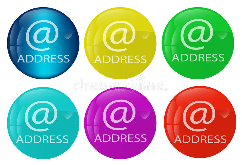 Address web button colored set vector illustration
