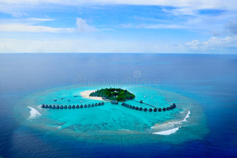 Addu atoll eller Seenu Atoll, söder mest atoll av de Maldiverna öarna arkivbilder