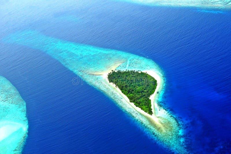 Adduatol of Seenu Atoll, het zuiden het Meeste atol van de eilanden van de Maldiven stock afbeelding