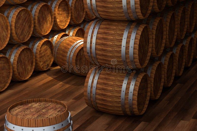 Adega de madeira com tambores para dentro, armaz?m da bebida do vintage, rendi??o 3d ilustração do vetor