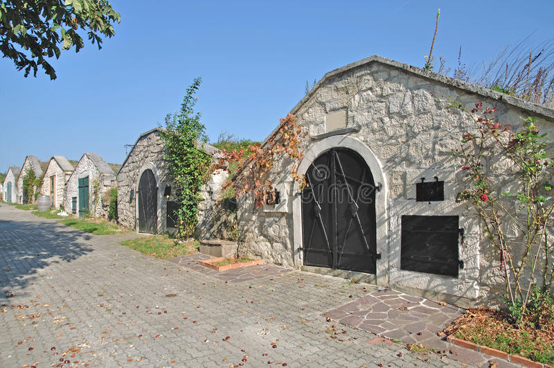 A adega de vinho tradicional, Burgenland, Neusiedler vê, Áustria fotos de stock royalty free