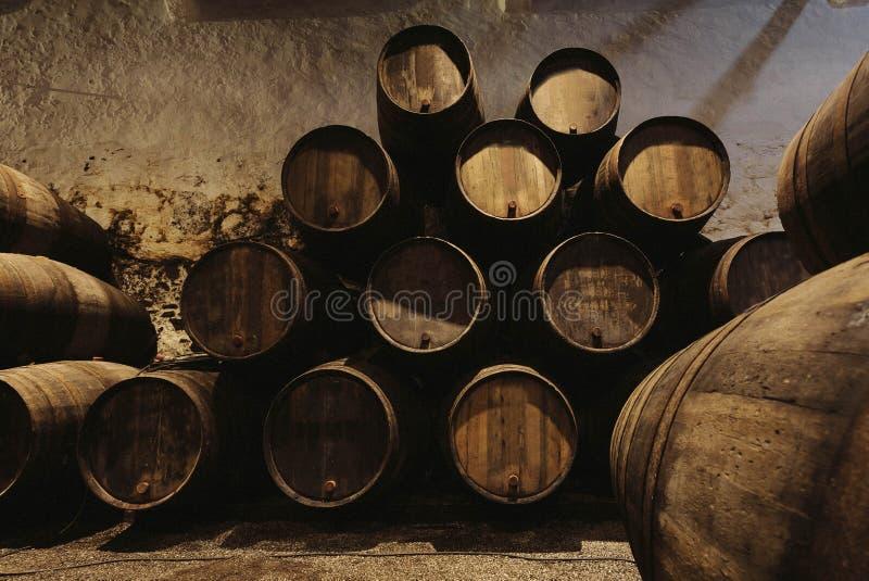 Adega velha com os tambores de madeira completos do vinho do Porto para dentro Adega escura para o winemaking, Portugal fotografia de stock