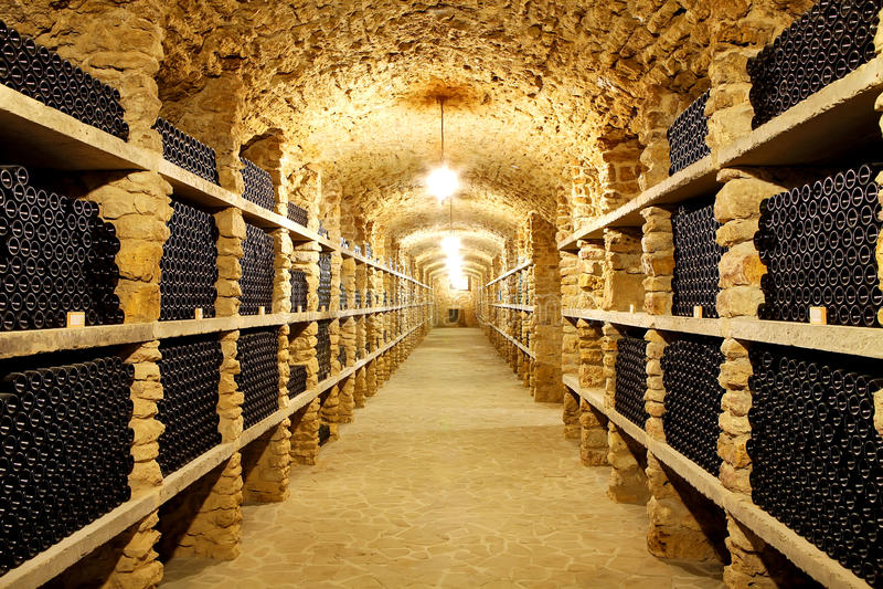 Adega velha das garrafas da adega de mercadorias enormes do vinho no futuro fotos de stock royalty free