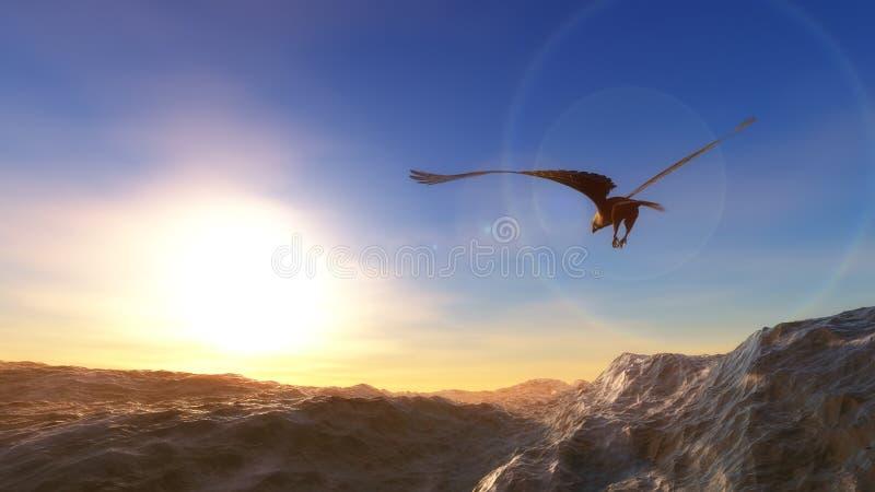 adelaar die over het overzees bij lage hoogte vliegt vector illustratie