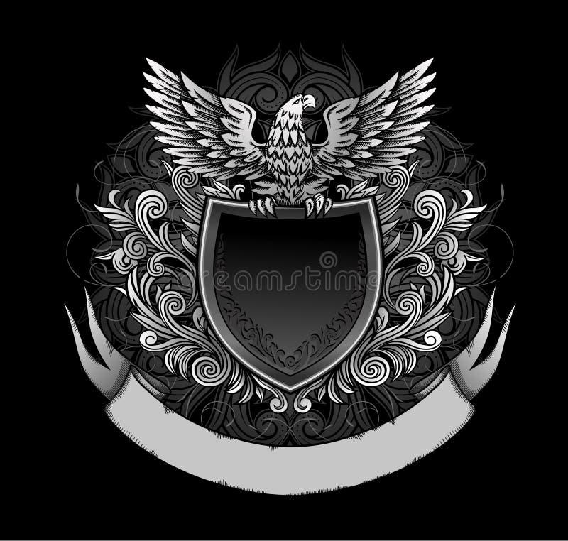 Adelaar op de Donkere Insignes van het Schild royalty-vrije illustratie