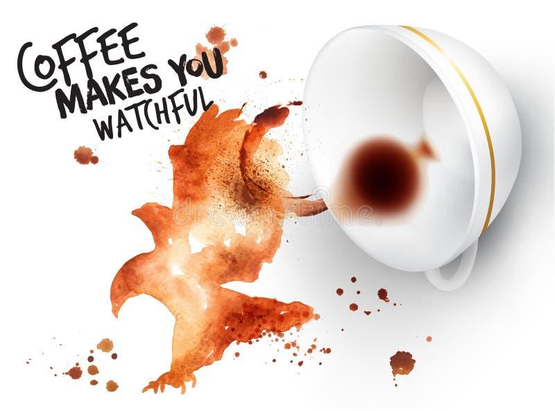 Adelaar van de affiche de wilde koffie royalty-vrije illustratie