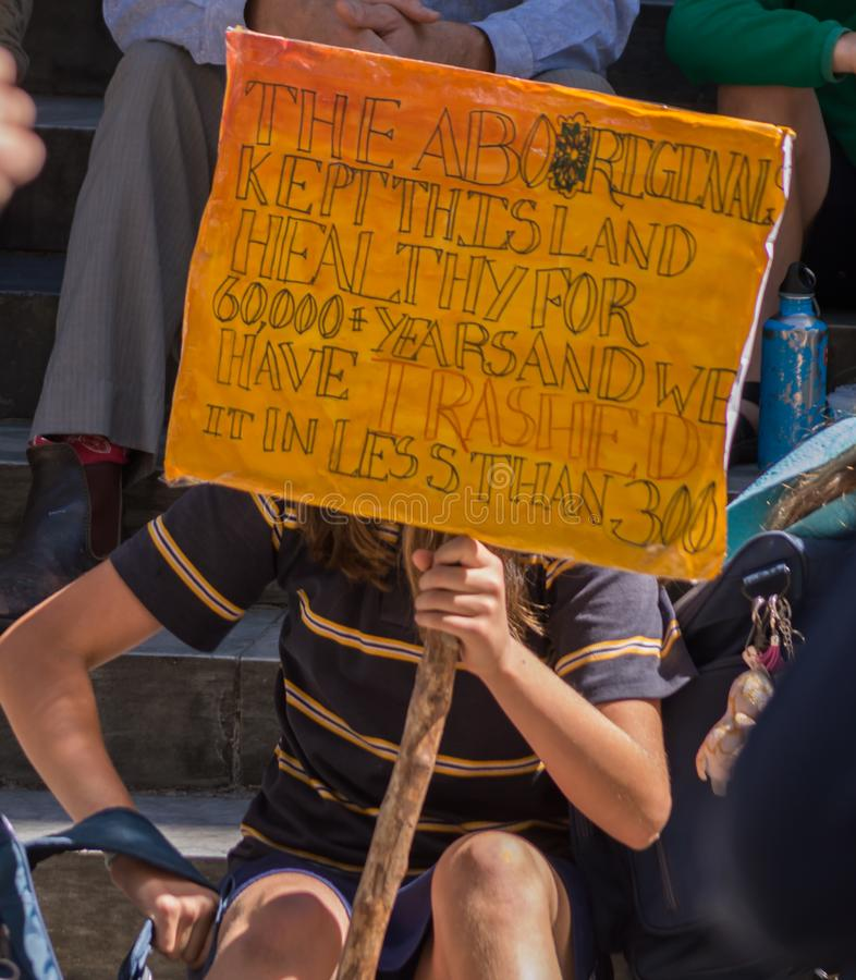 Heated Dialogue. Adelaide, AU - November 30, 2018: Hundreds of students in Adelaide gather outside of Parliament House demanding action on climate change stock photography