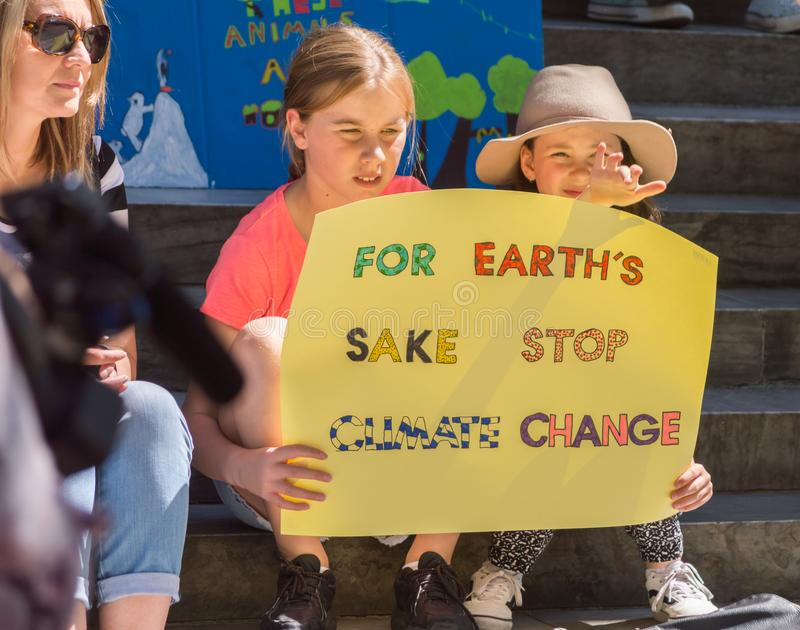 Heated Dialogue. Adelaide, AU - November 30, 2018: Hundreds of students in Adelaide gather outside of Parliament House demanding action on climate change stock image