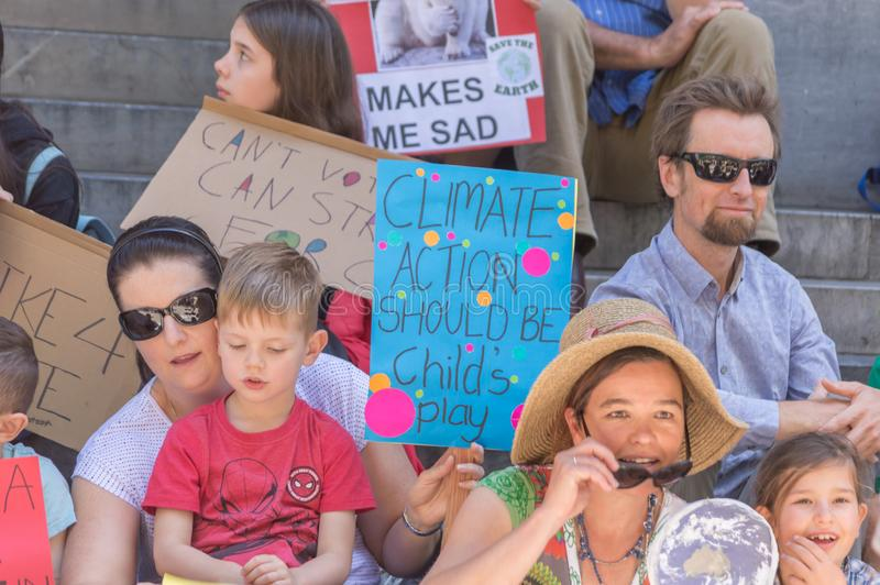 Heated Dialogue. Adelaide, AU - November 30, 2018: Hundreds of students in Adelaide gather outside of Parliament House demanding action on climate change stock photo