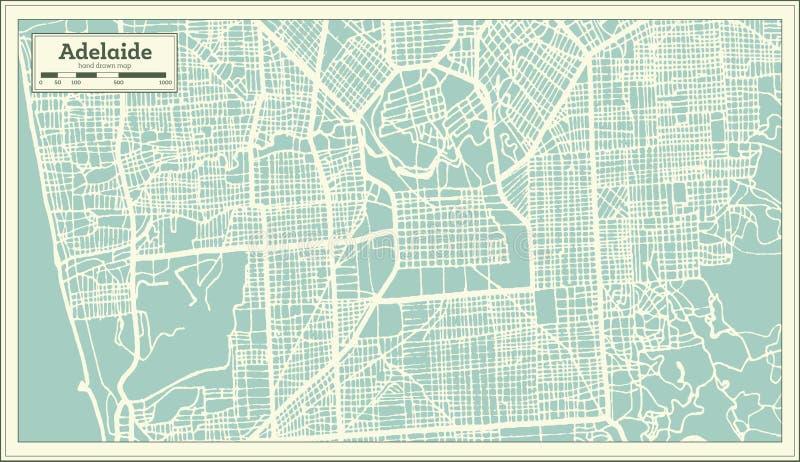 Adelaide Australia City Map in Retro Stijl Zwart-witte vectorillustratie stock illustratie