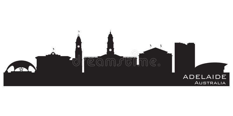 Adelaide Australia-het vectorsilhouet van de stadshorizon stock illustratie