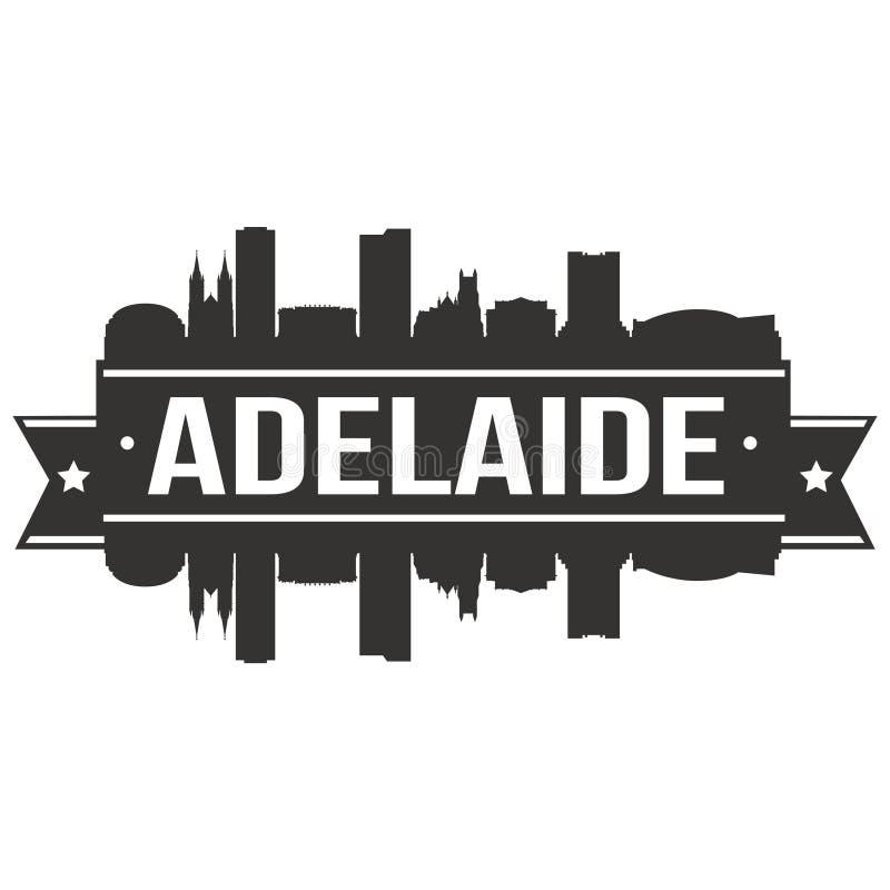 Adelaide Australia Icon Vector Art-van het de Stadssilhouet van de Ontwerphorizon het Vlakke Malplaatje van Editable royalty-vrije illustratie