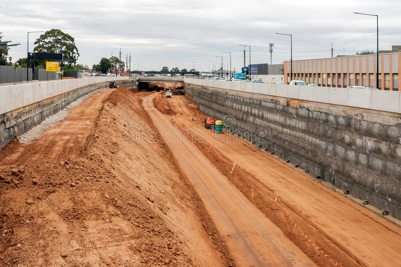 South Road motorway upgrade in Adelaide, South Australia. Adelaide, Australia - January 10, 2018: Torrens Road to River Torrens Project under construction view stock image