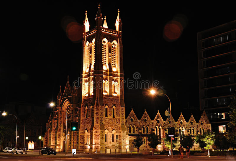 Adelaide church by night. An Adelaide church by night royalty free stock photography