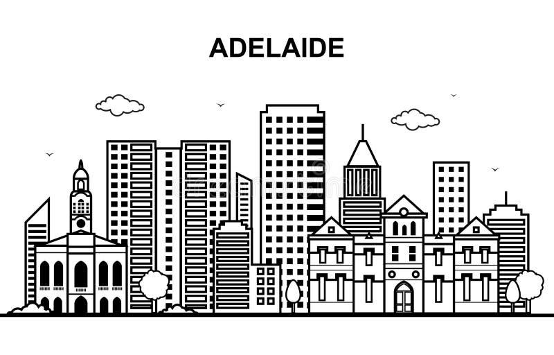 Adelaide City Australia Cityscape Skyline-de Illustratie van het Lijnoverzicht stock illustratie