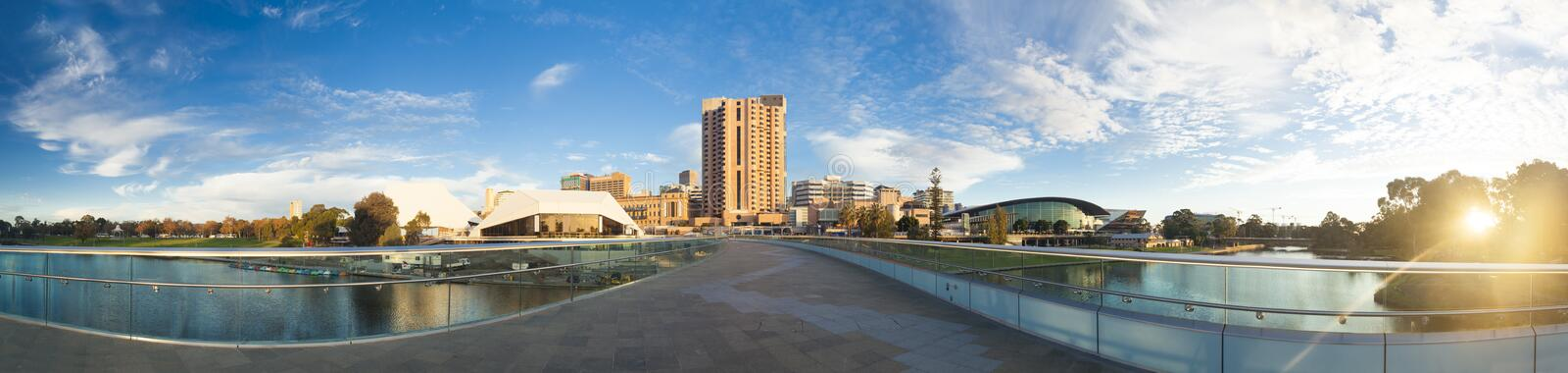 Adelaide city in Australia at sunset. Downtown area of Adelaide city in Australia at sunset royalty free stock images