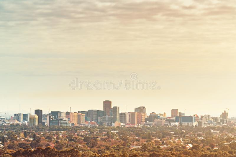 Adelaide City morning view from the Hills. Adelaide City skyline  view from the Adelaide Hills,  South Australia stock photos