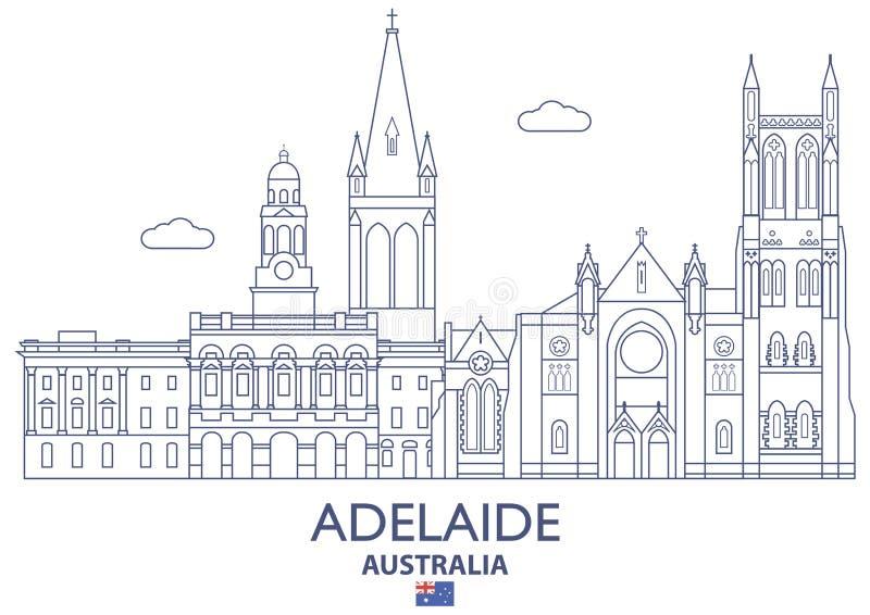 Adelaide City Skyline, Australië royalty-vrije illustratie
