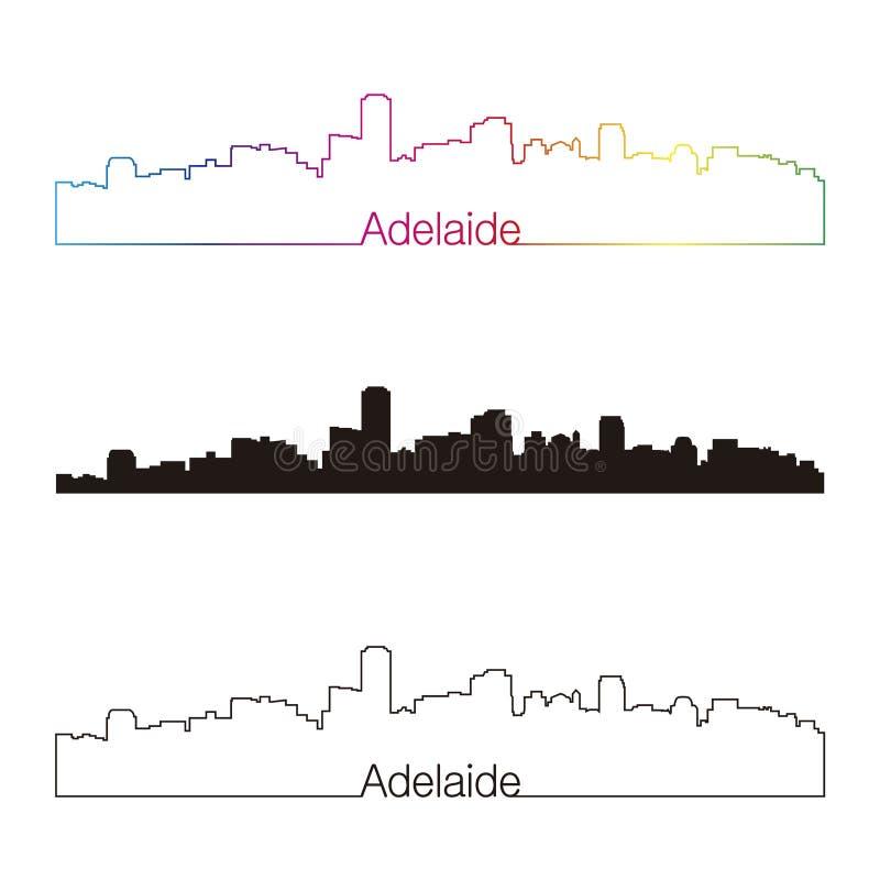 Adelaide horizon lineaire stijl met regenboog vector illustratie