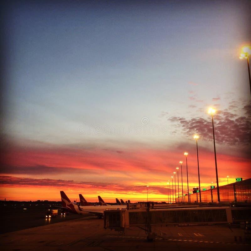 Adelaide lotniskowy zmierzch przy półmrokiem zdjęcie stock