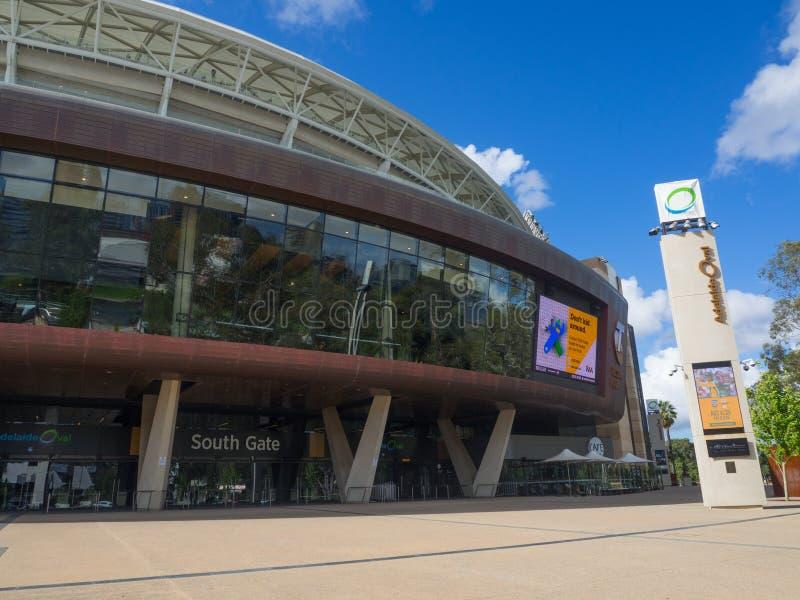 Adelaide Oval est un au sol de sports, situé dans les espaces verts entre Adelaïde de centre de la ville et du nord, l'exposition photographie stock libre de droits