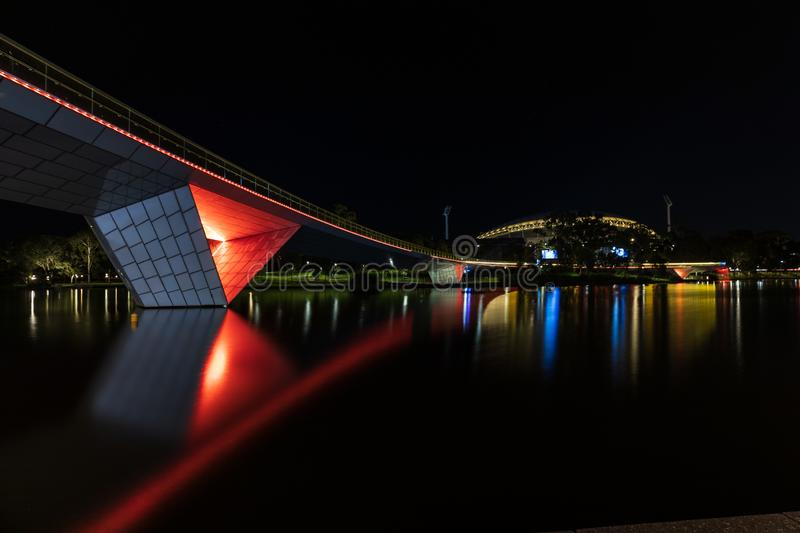 Adelaide Oval and River Torrens Footbridge stock images