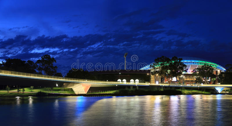 Adelaide Oval Stadium and Torrens River Bridge stock photos